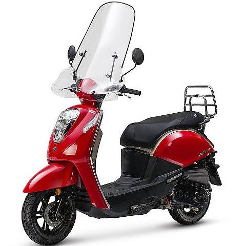 Sym Mio 50i Premium rood vooraanzicht